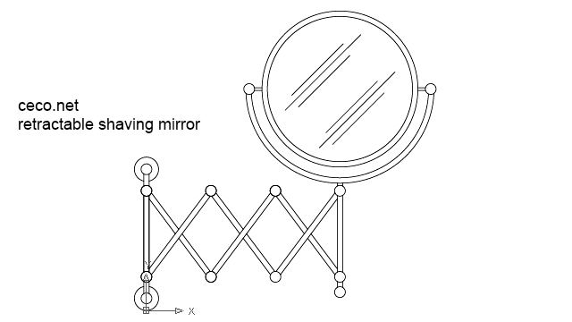 autocad drawing Retractable shaving round mirror in Bathrooms Detail