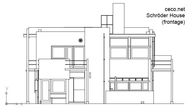 autocad drawing Rietveld Schrder House - frontage in Architecture