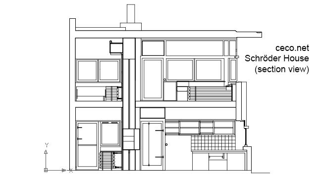 autocad drawing Rietveld Schroder House - Gerrit Rietveld - section view in Architecture