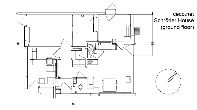 autocad drawing Rietveld Schroder house in Utrecht - ground floor in Architecture