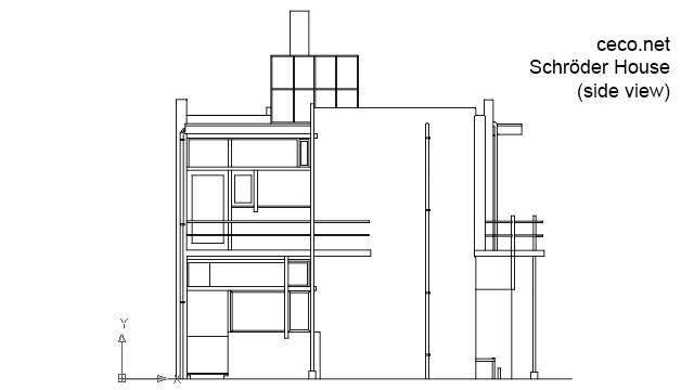 autocad drawing Rietveld Schroder house in Utrecht, Netherlands - side view in Architecture
