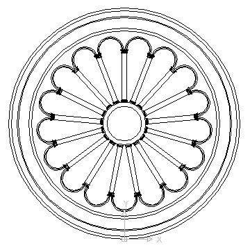autocad drawing Rosette Roman Corinthian style in Decorative elements