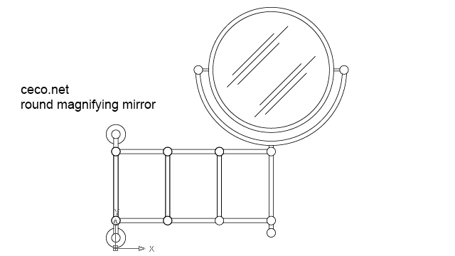 autocad drawing round magnifying mirror in Bathrooms Detail