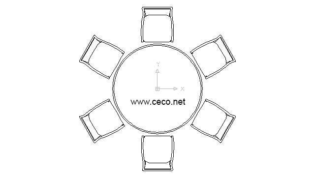 Autocad Drawing Round Table With Six Chairs For Lunch In Furniture