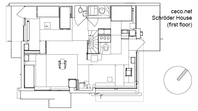 Autocad drawing schroder house in utrecht first floor dwg for Autocad house drawings