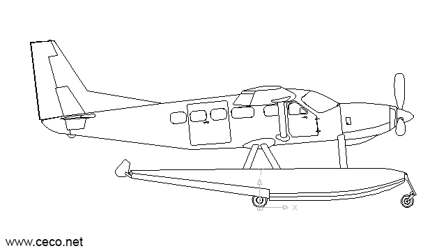 autocad drawing seaplane amphibian aircraft waterplane hydroplane in Vehicles, Aircrafts
