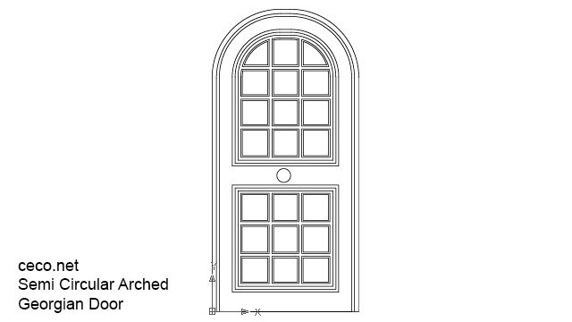 autocad drawing semi circular arched georgian doors in Decorative elements