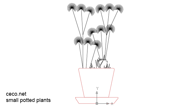 autocad drawing small potted plants in Garden & Landscaping, Plants Bushes