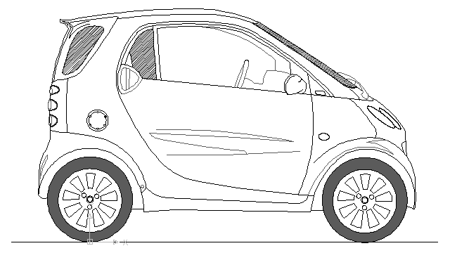 autocad drawing smart car automobile small dwg