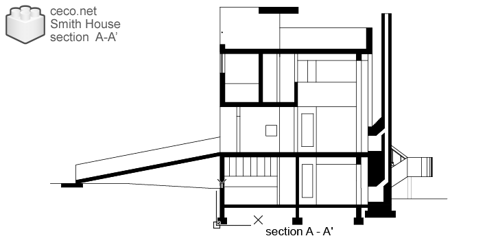 autocad drawing Smith House cross-section A-A, Richard Meier architect in Architecture