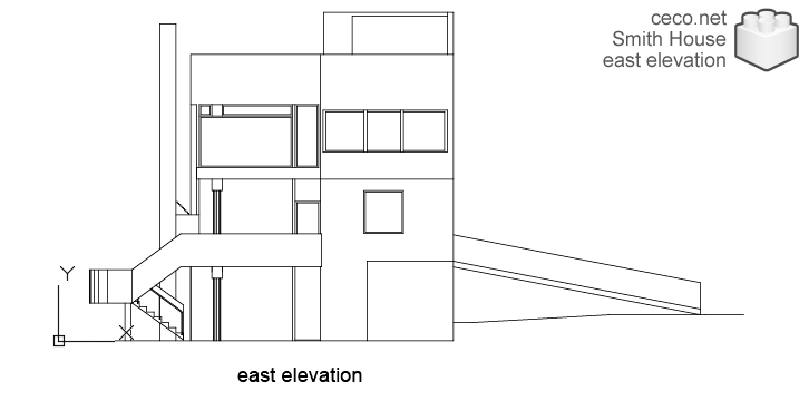 autocad drawing Smith House east elevation, Richard Meier architect in Architecture