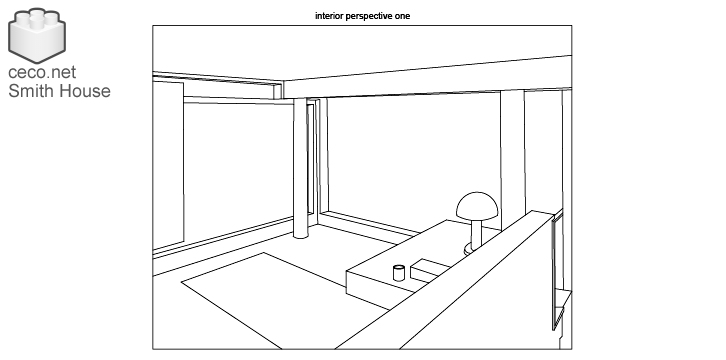 autocad drawing Smith House interior perspective one, Richard Meier architect in Architecture