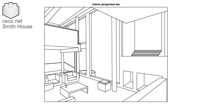 autocad drawing Smith House interior perspective two, Richard Meier architect in Architecture