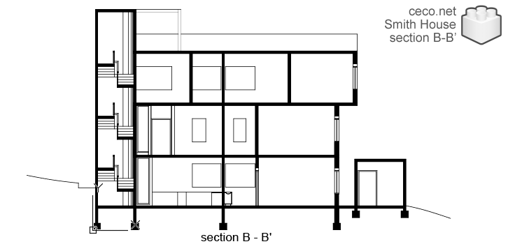 autocad drawing Smith House longitudinal section B-B, Richard Meier architect in Architecture