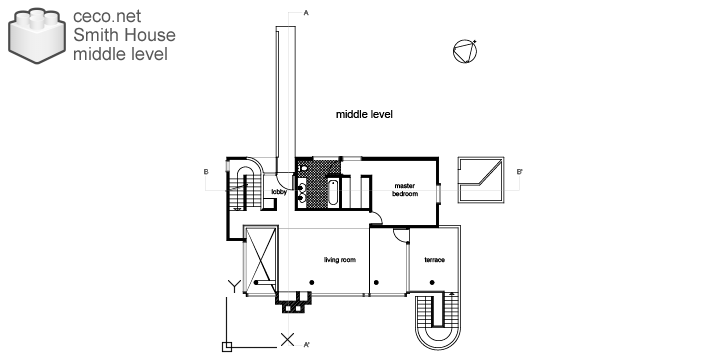 autocad drawing Smith House middle level, Richard Meier architect in Architecture