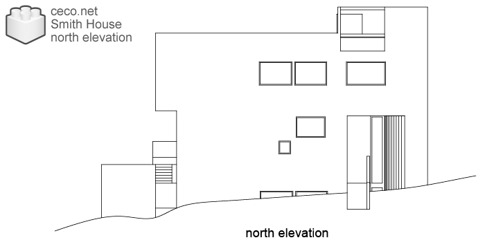 autocad drawing Smith House north elevation Richard Meier architect in Architecture