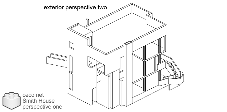 autocad drawing Smith House perspective exterior two, Richard Meier architect in Architecture