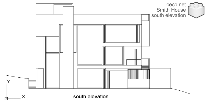 autocad drawing Smith House south elevation, Richard Meier architect in Architecture