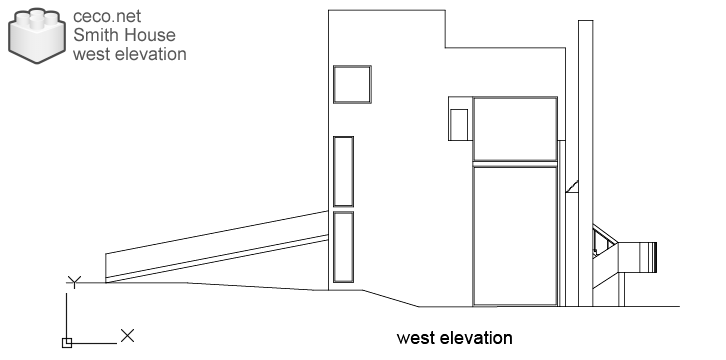 autocad drawing Smith House west elevation, Richard Meier architect in Architecture