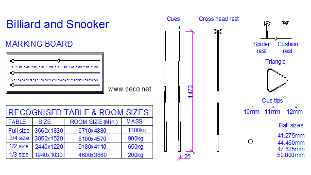 autocad drawing snooker marking board, cues, triangle and official size in Equipment