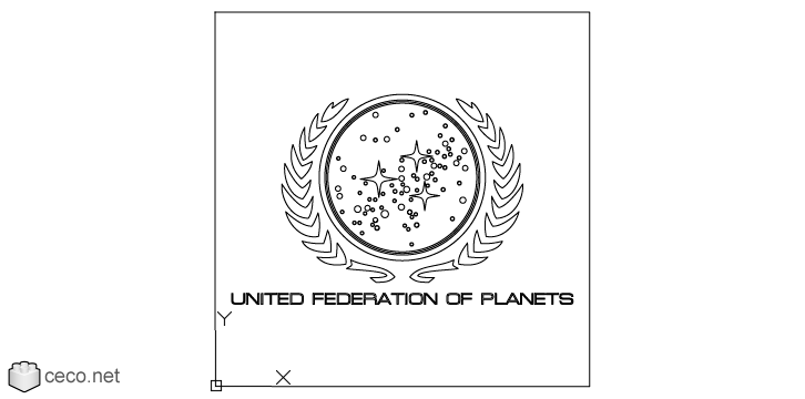 autocad drawing Star Trek Great Seal of the United Federation of Planets in Symbols Signs Signals