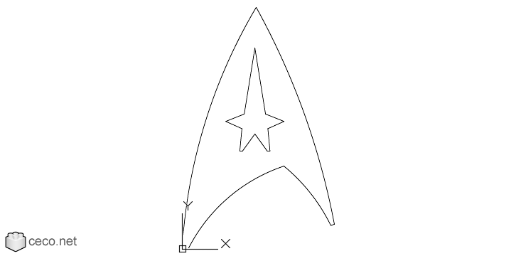 autocad drawing Star Trek Starfleet Insignia of Enterprise crew in Symbols Signs Signals