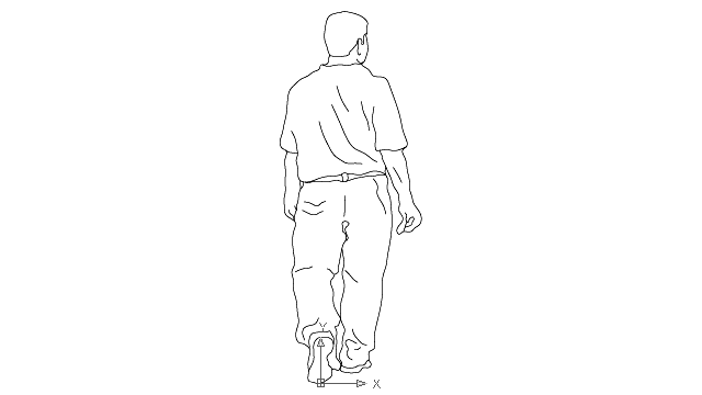 autocad drawing teenager boy - rear view 1 in People, Men