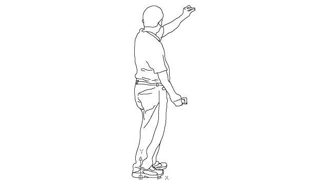 autocad drawing teenager boy - rear view 2 in People, Men