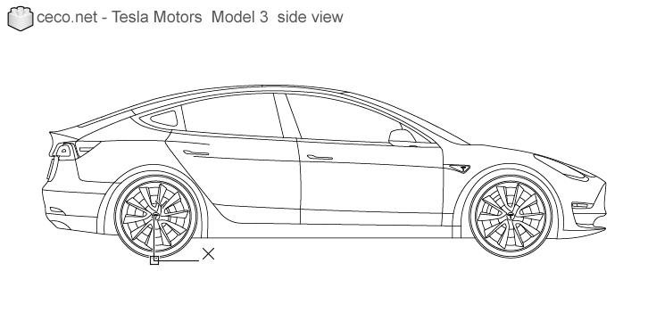 autocad drawing Tesla Motors Model 3 Tesla Inc electric car side in Vehicles, Cars