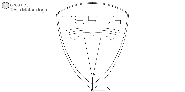 autocad drawing Tesla Motors logo, Tesla Inc in Symbols Signs Signals