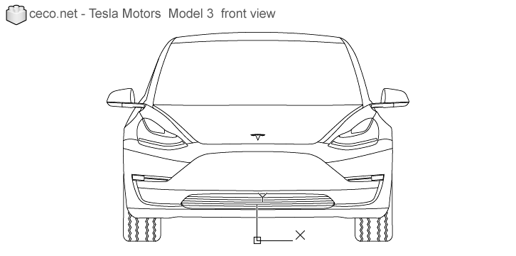 autocad drawing Tesla Motors Model 3 Tesla Inc electric car front in Vehicles, Cars