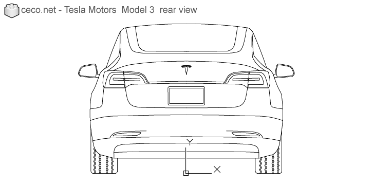 autocad drawing Tesla Motors Model 3 Tesla Inc electric car rear in Vehicles, Cars