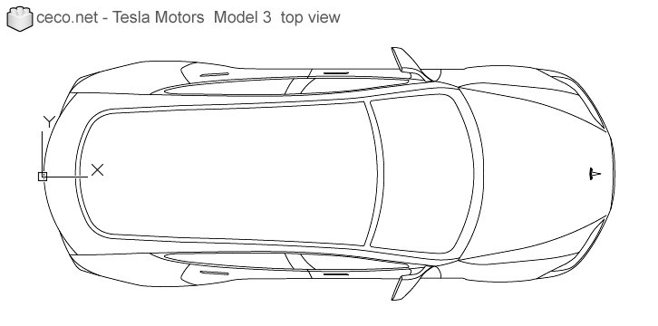 autocad drawing Tesla Motors Model 3 Tesla Inc electric car top in Vehicles, Cars