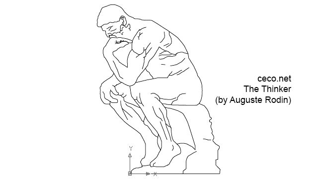 autocad drawing The Thinker sculpture by Auguste Rodin Le Penseur in Decorative elements