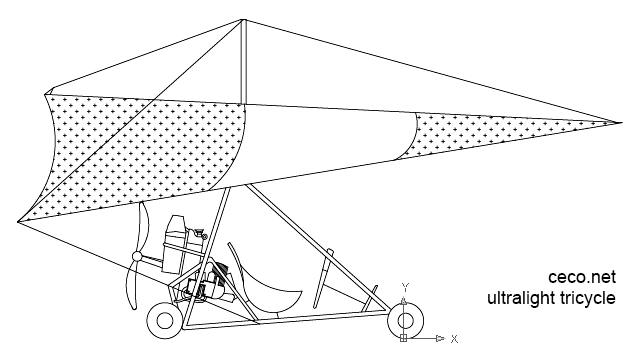 ultralight tricycle side view in Vehicles / Aircrafts - Ceco.NET free autocad drawings