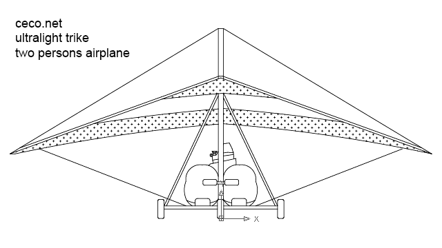 ultralight trike two persons airplane front view in Vehicles / Aircrafts - Ceco.NET free autocad drawings