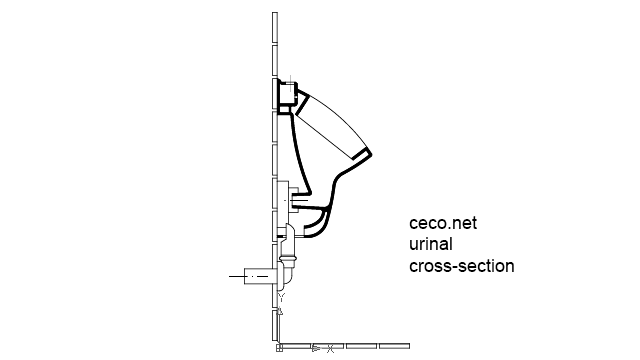 autocad drawing urinal cross-section in Bathrooms Detail