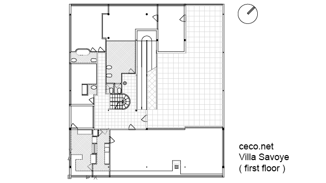 autocad drawing Villa Savoye - Le corbusier - first floor in Architecture