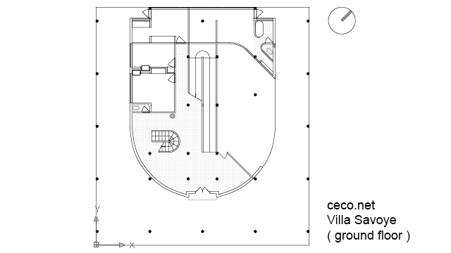 Autocad drawing Villa Savoye - Le corbusier - ground floor plan dwg