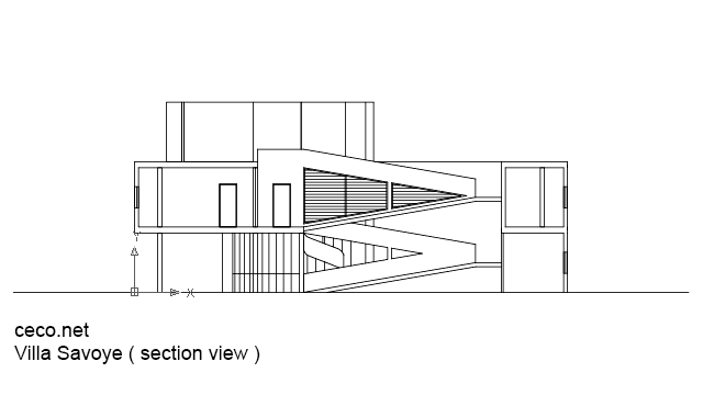 Autocad Drawing Villa Savoye Le Corbusier Section View Dwg