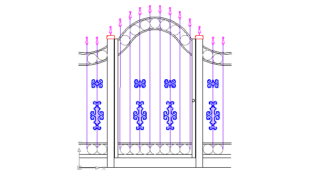 vintage wrought iron gates and fences in Decorative elements - Ceco.NET free autocad drawings