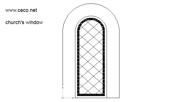 autocad drawing Windows in church architecture in Decorative elements