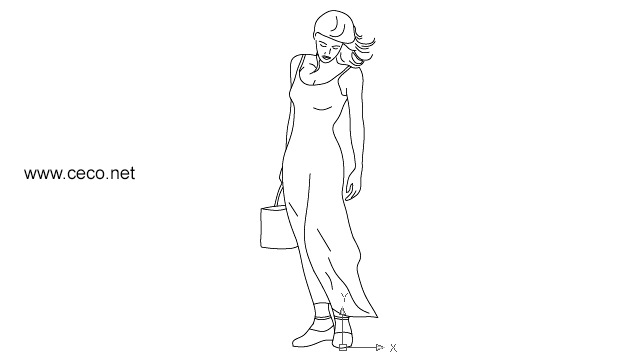 autocad drawing woman with bag in People, Women