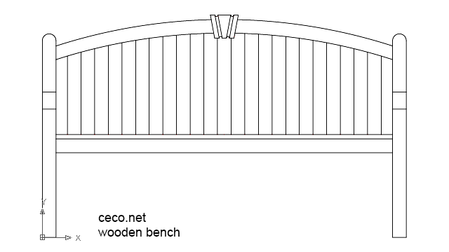 autocad drawing wooden bench rear view in Furniture