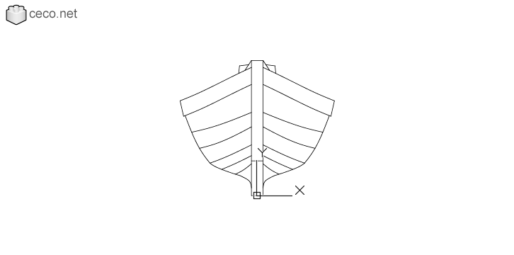 autocad drawing Wooden boat with an outboard motor front view in Vehicles, Boats & Ships