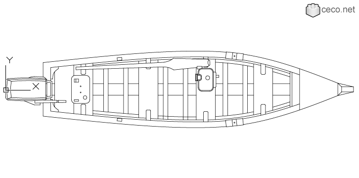 autocad drawing wooden boat with an outboard motor and an oar top view in Vehicles, Boats & Ships