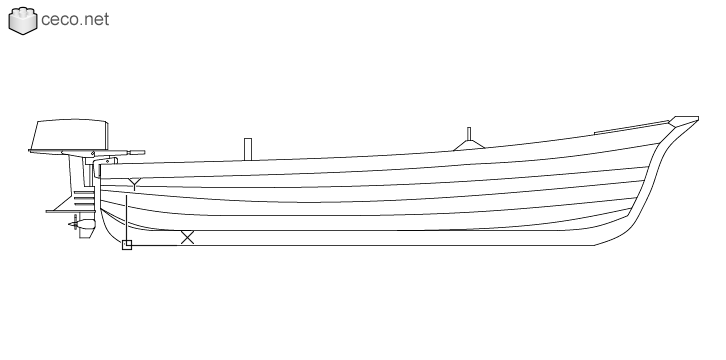 autocad drawing Wooden boat with an outboard motor side view in Vehicles, Boats & Ships