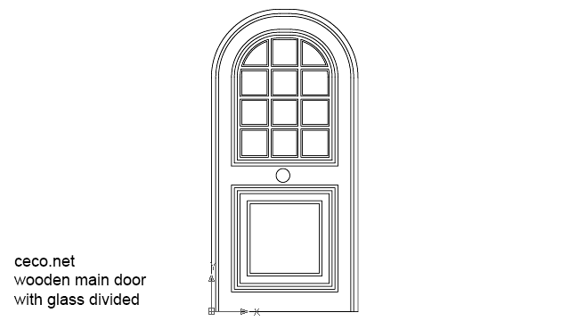 Autocad drawing wooden main door with glass divided dwg