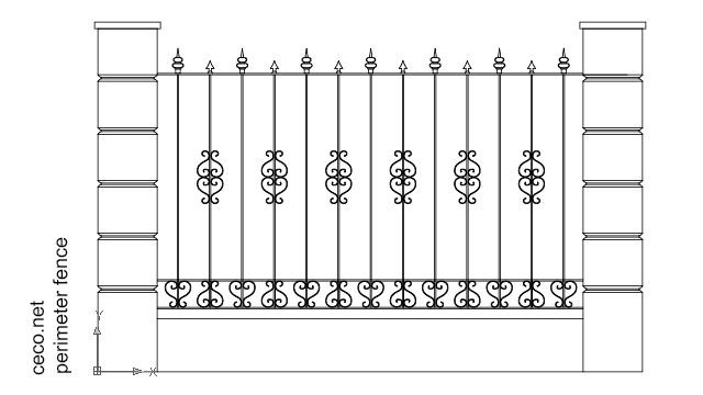 autocad drawing wrought iron fence with stone columns in Decorative elements