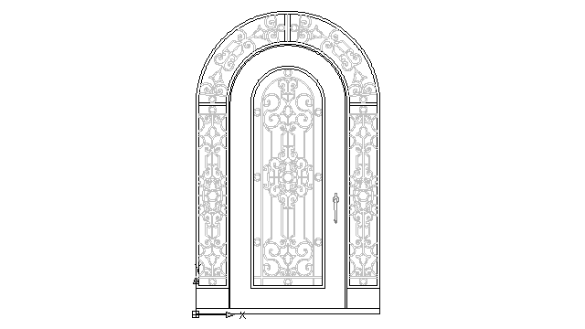 autocad drawing wrought iron single door, entry doors with transom sidelite in Decorative elements